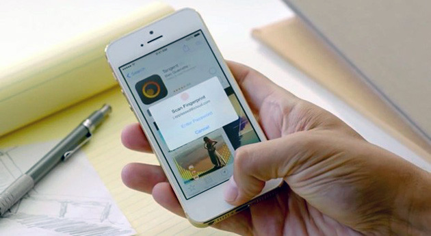 Touch ID fingerprint reading on an iPhone 5s