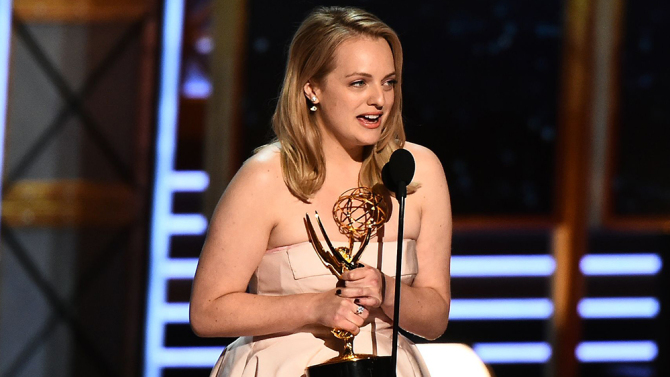 Mandatory Credit: Photo by Buckner/Variety/REX/Shutterstock (9064815gp)<br /> Elisabeth Moss<br /> 69th Primetime Emmy Awards, Show, Los Angeles, USA - 17 Sep 2017