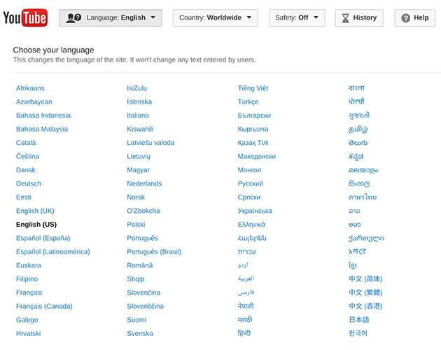 Navigate YouTube in 15 more languages