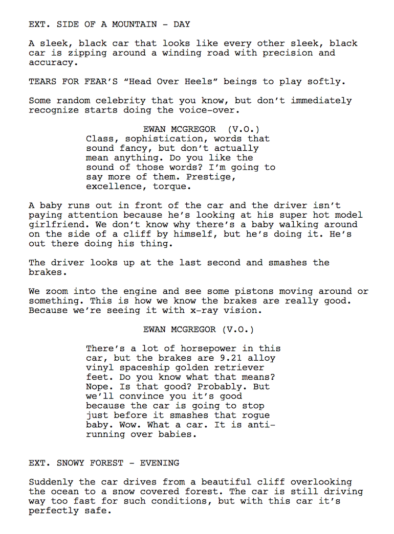 tv commercial script template - the script for every car commercial that 39 s ever existed