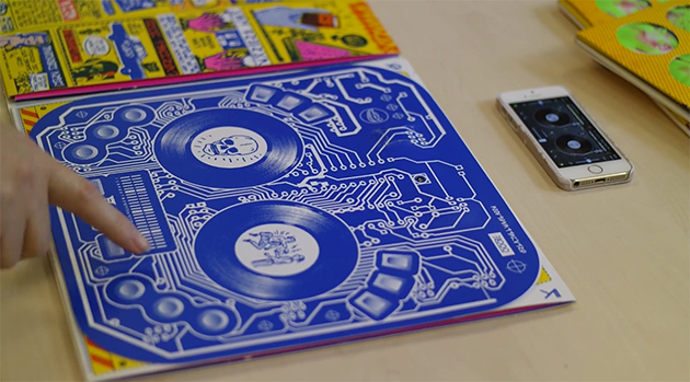 Interactive album artwork doubles as a DJ controller