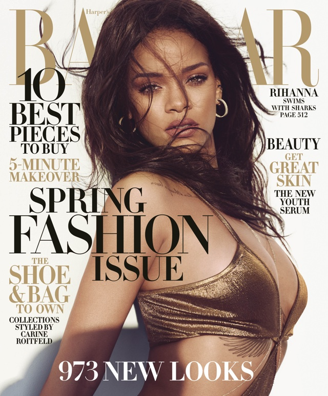 Rihanna swims with sharks for Harper's Bazaar cover