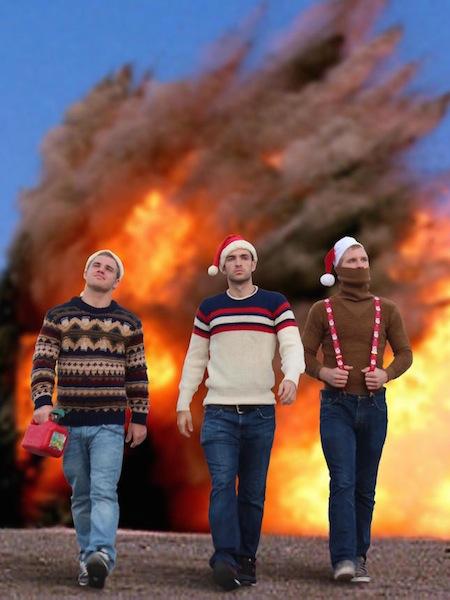 funny christmas cards, funny christmas photos, christmas explosion walk