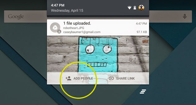 Google Drive's share-on-upload feature
