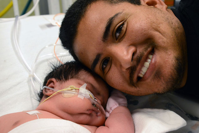 Mum expecting 7 lb baby gives birth to 13lb 13oz daughter Mia Yasmin Garcia
