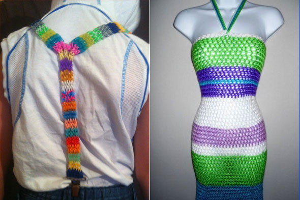 Loom band designs: From dresses and bikinis to bags and braces!