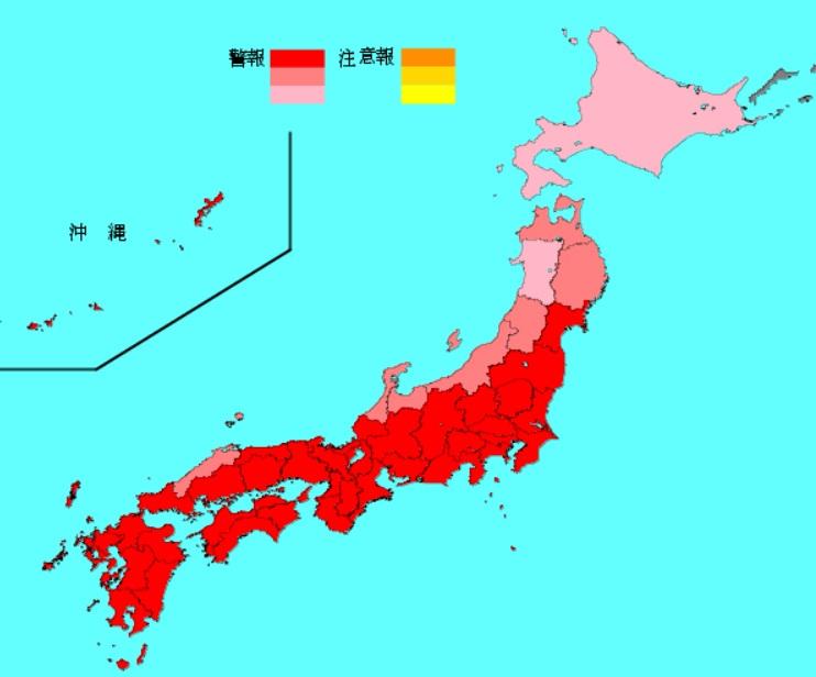 北海道や東北地方などを除き、大半の府県で警報レベルになった。
