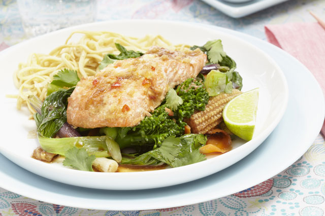 Asian saucy salmon on oodles of noodles recipe