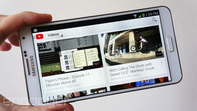 Samsung Galaxy Note 3 checking out YouTube