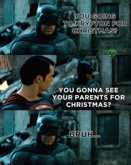superheroes being super a-holes, superheroes being jerks funny, batman v superman krypton parents christmas joke