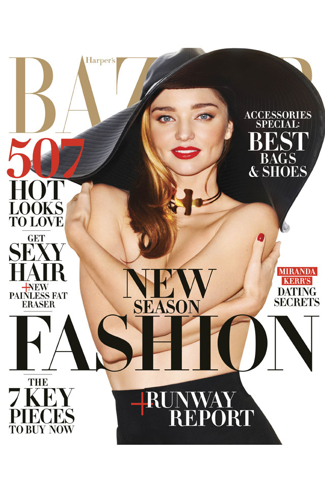Miranda Kerr Instagrams behind-the-scenes snap  from topless Harper's Bazaar shoot