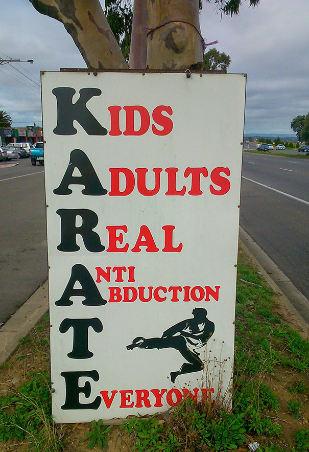 horrible designs, bad design ideas, designs that were horrible misfires, karate sign fail