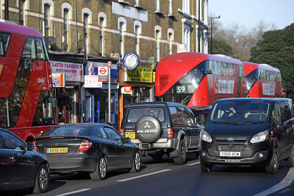 Traffic on Brixton Road in Lambeth, London, which has broken the annual legal air pollution limit for the whole year just five days into 2017, figures show.