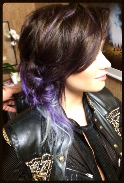 Demi Lovato dyed hair purple silver ombre pics