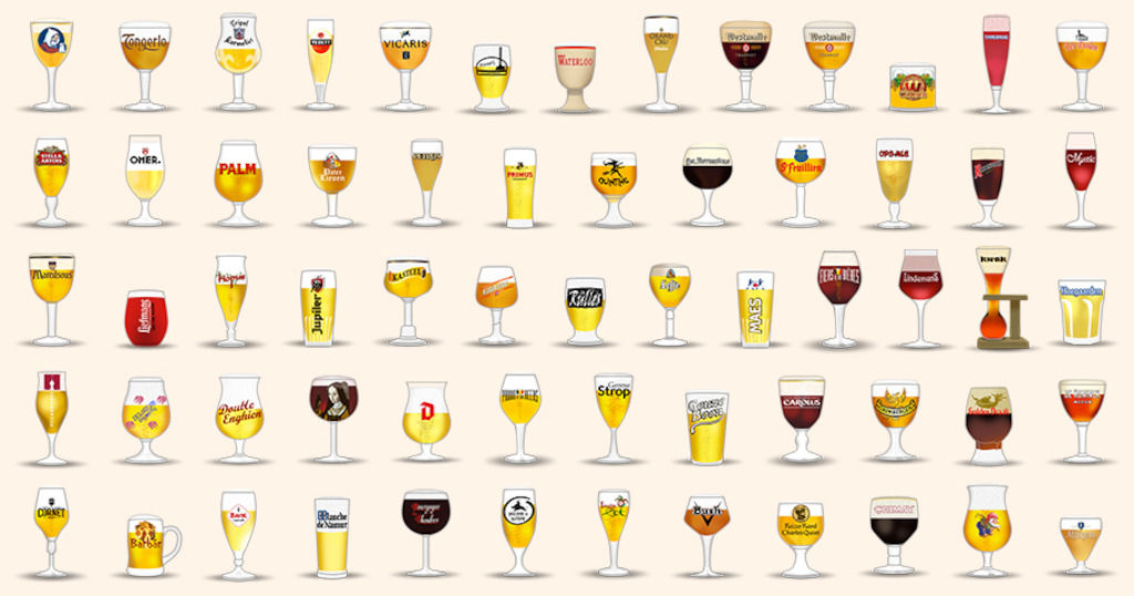 Unofficial Belgian beer emojis use the appropriate glassware