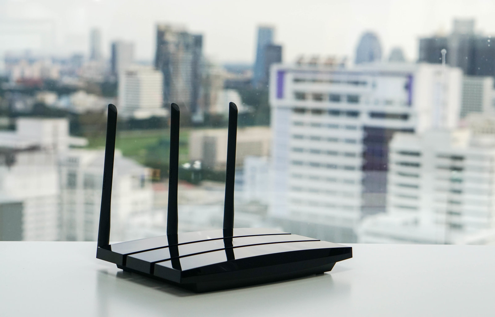 WiFi router with city view