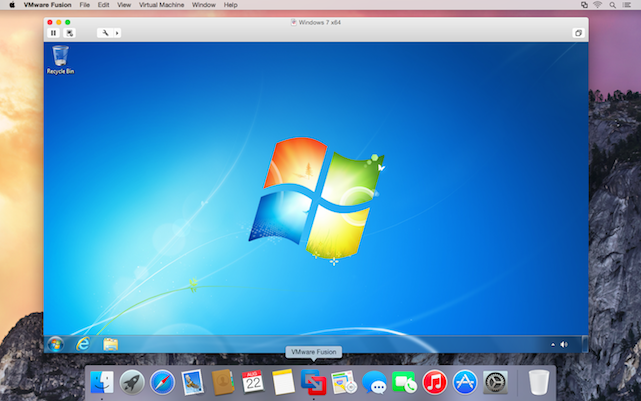 VMWare Fusion 7 running Windows on an OS X Yosemite machine
