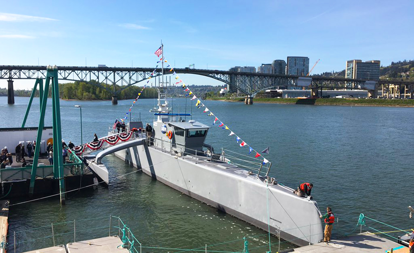 darpa christens its anti submarine drone ship sea hunter