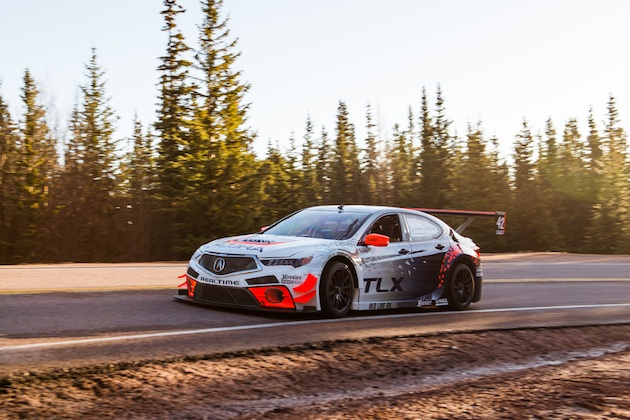 The Acura TLX GT race car returns to competition in the Pikes Peak Open class.
