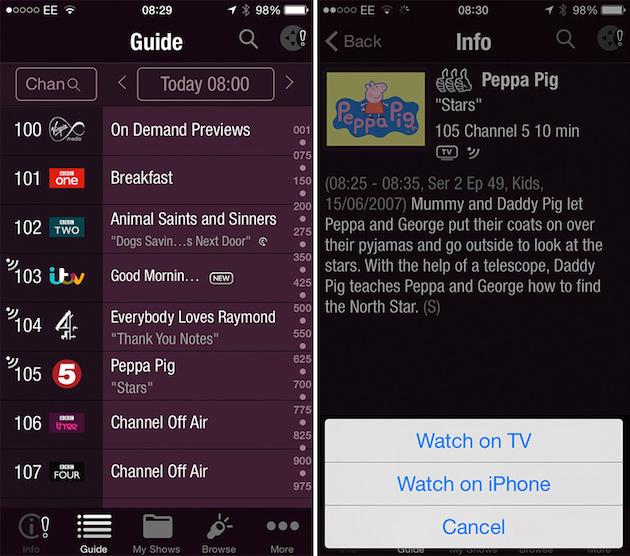 Virgin Media's TV Anywhere iOS App