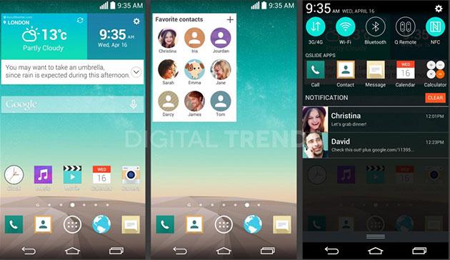 Pantallazos del LG G3 filtrados: Renovado interfaz y función a lo Google Now
