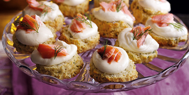 Dill and salmon scones