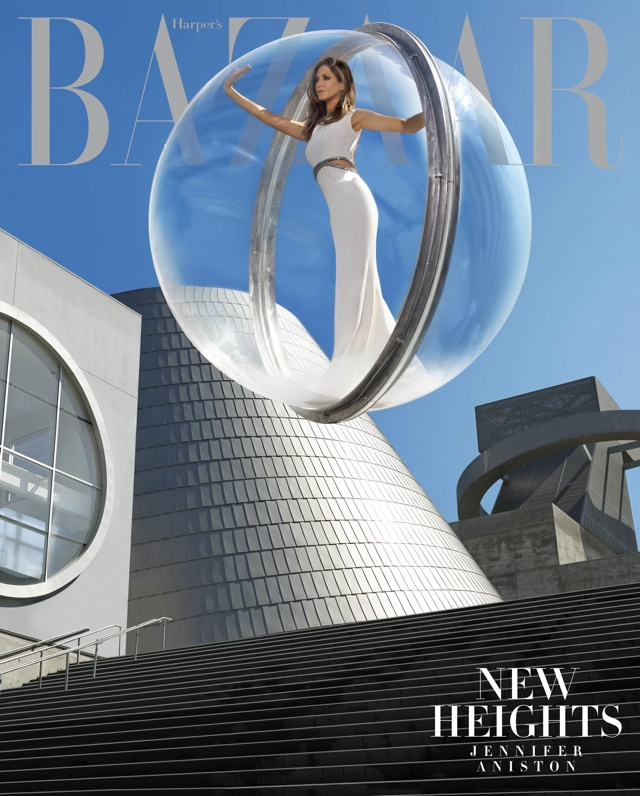 Jennifer Aniston covers Harper's Bazaar floating in a giant bubble (yep, really)
