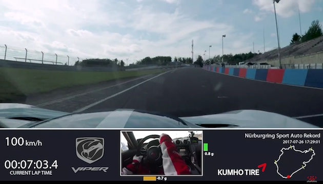 【ビデオ】ファンの支援によってニュルブルクリンクに挑んだダッジ「ヴァイパー」、7分03秒45というタイムを記録