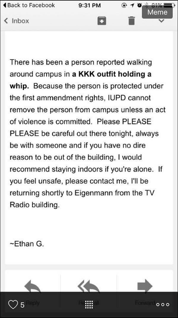 friar at Indiana University mistaken for KKK member
