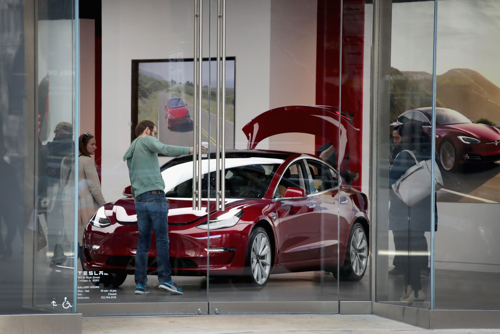 CHICAGO, IL - MARCH 30:  A Model 3 sits on the showroom floor at a Tesla dealership on March 30, 2018 in Chicago, Illinois. Tesla has announced it is recalling 123,000 of its Model S sedans due to a problem with power steering bolts.  (Photo by Scott Olson/Getty Images)