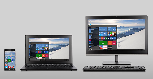 Windows 10 on a phone, laptop and desktop