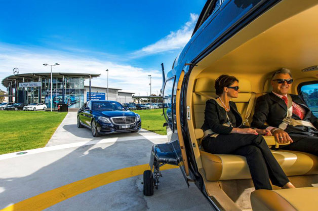 Mercedes takes off with heli express airport transfer for Mercedes benz sydney service