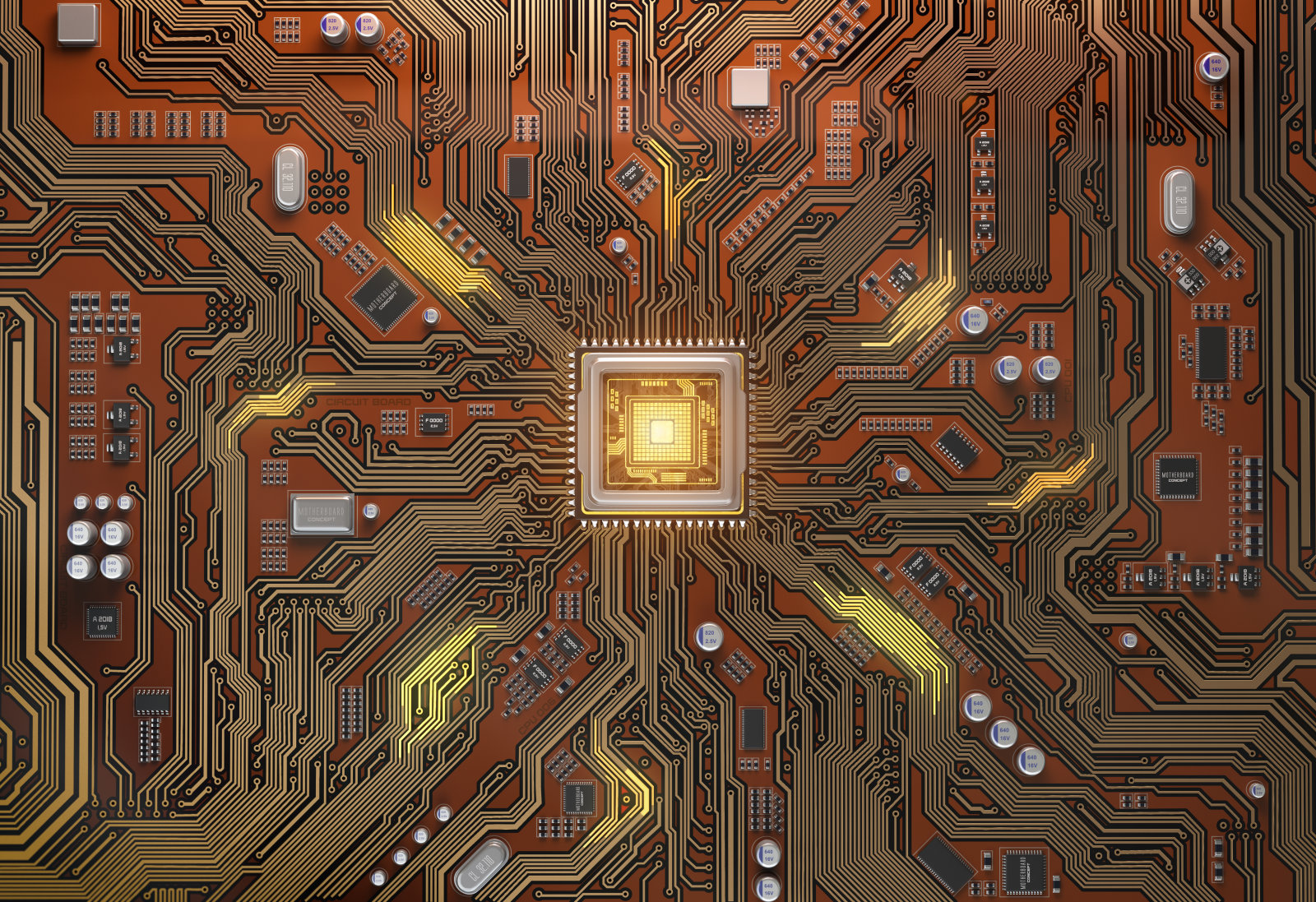 Circuit board with CPU.  Motherboard system chip with glowing processor. Computer´s technology and internet concept. 3d illustration