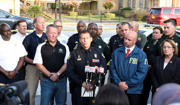 Orlando Police Chief John Mina and other city officials answer the media's questions about the Pulse nightclub shooting in Orlando, Florida June 12, 2016.  REUTERS/Kevin Kolczynski