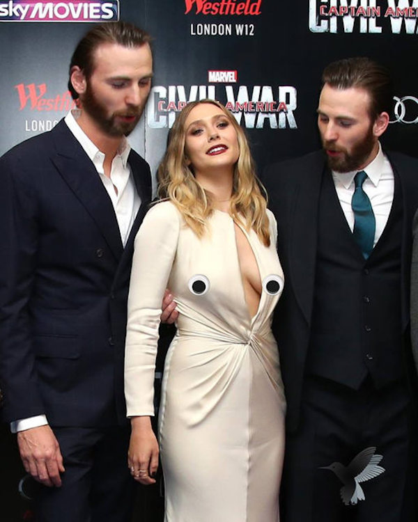 Chris Evans Got Caught Looking At Elizabeth Olsen's Boobs And The Internet Took It From There
