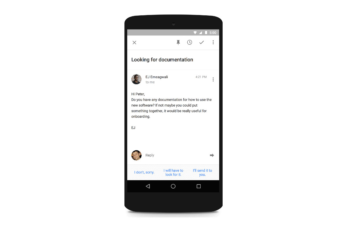 Google's Inbox gets a 'Smart Reply' tool that suggests short responses