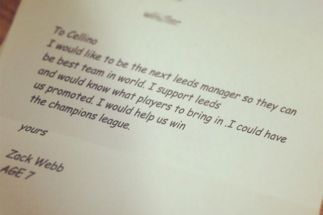 boys writes letter to leeds united