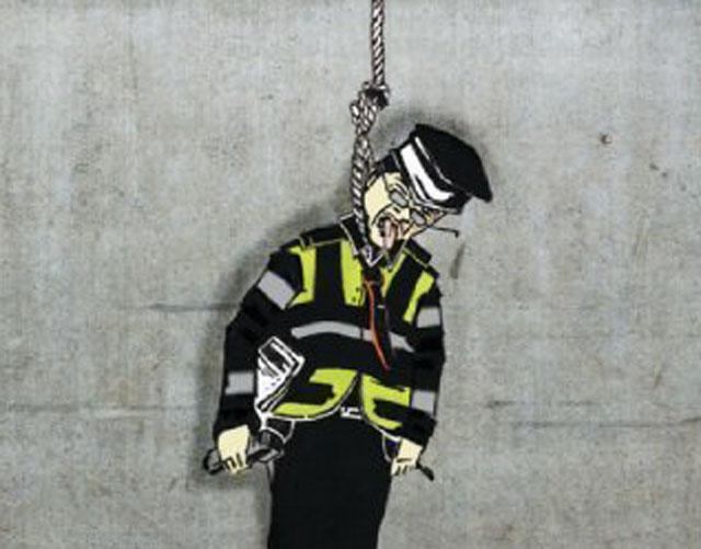 hanging traffic warden