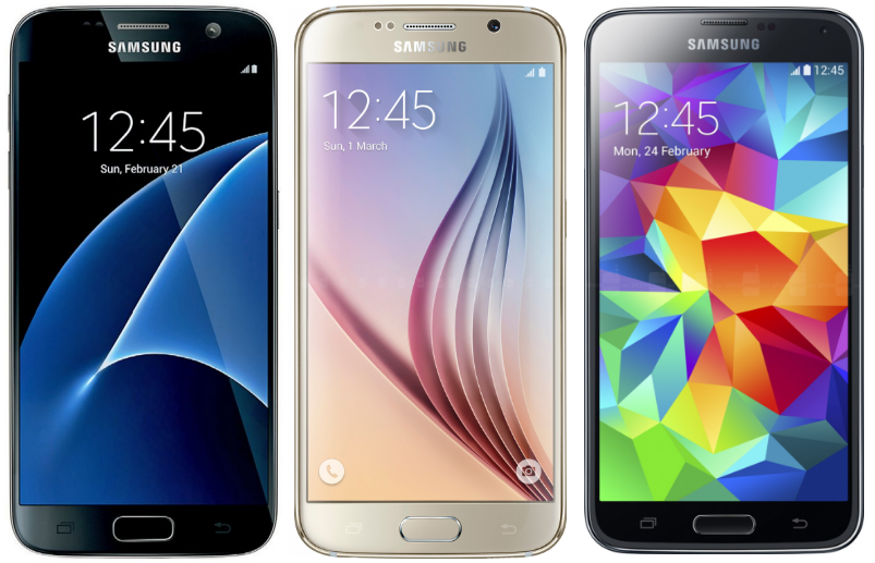 Picture of samsung galaxy phones S5, S7, and S7 edge