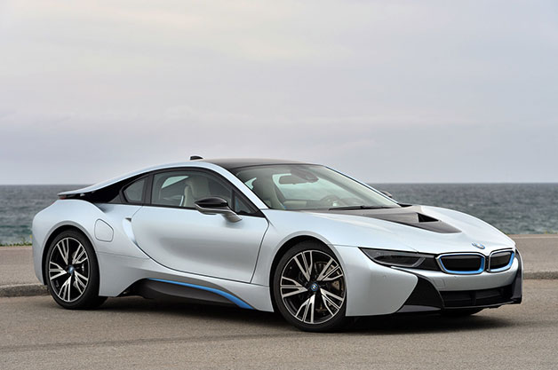 2015 BMW i8, front three-quarter view