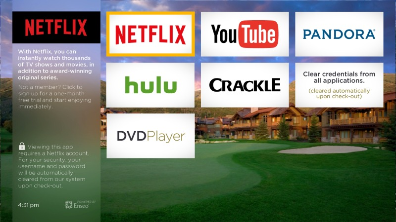 Enseo HPC showing Netflix