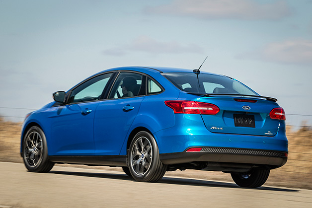 2015 Ford Focus Sedan - rear, blue
