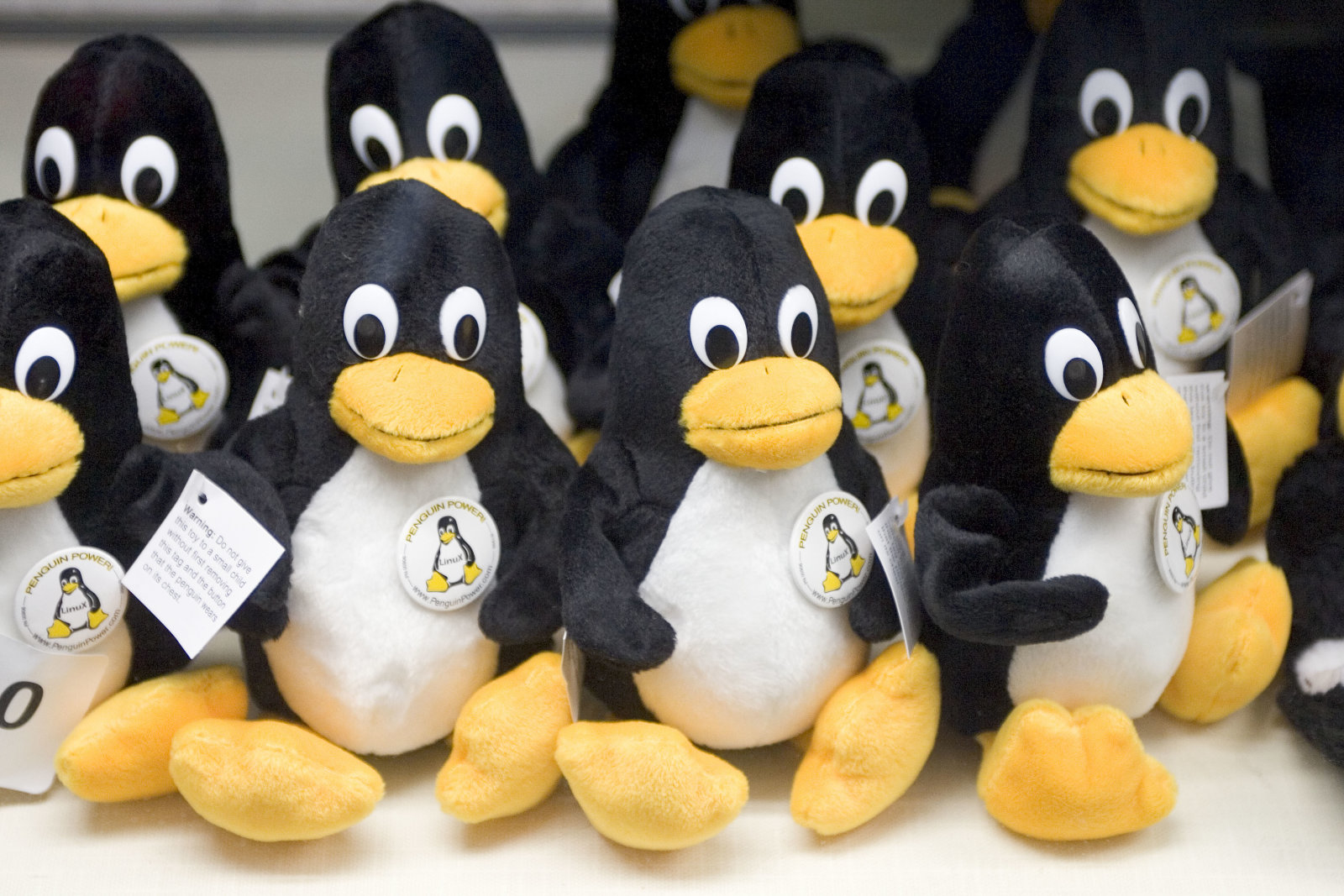 Tiny Linux penguins are seen for sale at the 2004 Linuxworld Conference and Expo at the Moscone Center in San Francisco. (Photo by Kim Kulish/Corbis via Getty Images)