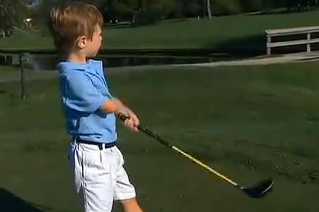 Three-year-old Tommy Morrissey  with one arm becomes golf sensation