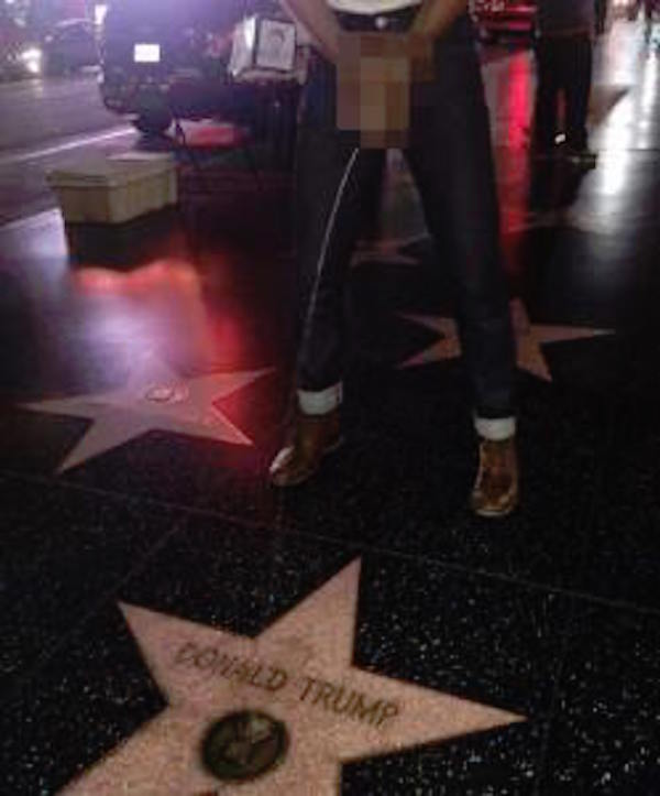 peeing on Donald Trump's star in Hollywood