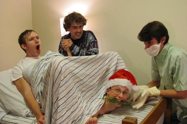 funny christmas cards, funny christmas photos, man giving birth christmas