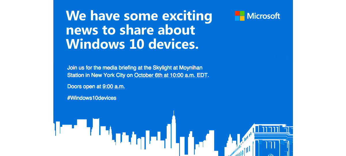 Microsoft unveils new Windows 10 devices on October 6th