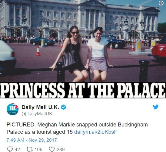 メーガン・マークルが十代の頃にバッキンガム宮殿前で撮影した写真が話題に