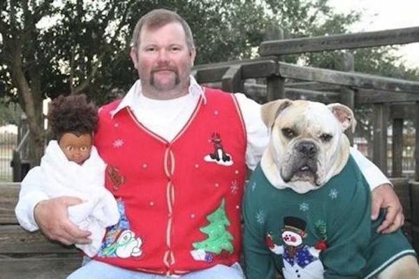 funny christmas cards, funny christmas photos, dog doll christmas