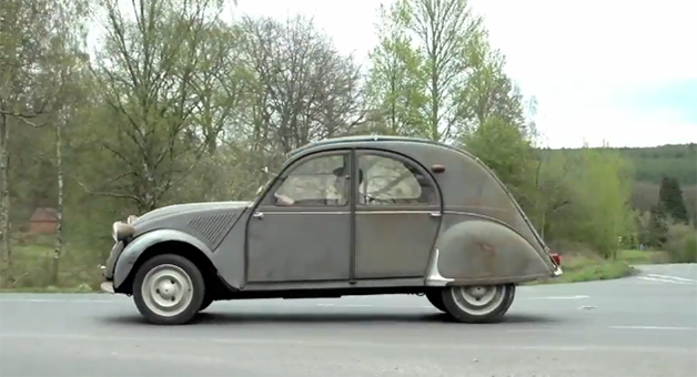 Screencap of Drive Channel's Chris Harris driving his favorite car, a Citroen 2CV